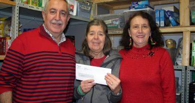 From left, Coun. Eli El-Chantiry, the WCFAC's Mary Braun and Maha El-Chantiry. Photo by Jake Davies