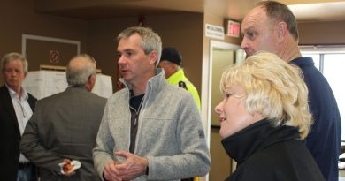 Michael Moore, Mayor of Whitewater Region (far left side in rear), Jonathan Wilker, Fire Chief for Whitewater Region, Hon. John Yakabuski, MPP, and MP Cheryl Gallant at the Westmeath Community Centre, the flood command centre for Whitewater Region during the Spring 2019 floods