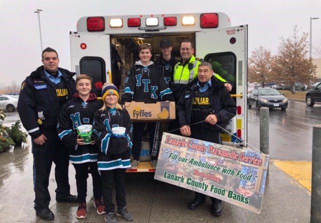 Lanark County paramedics pickied up about 6,000 lbs of donated food last weekend. Courtesy the LCPS