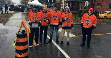 West Carleton Inferno players volunteered their time on Saturday (Dec. 14) helping deliver and set up barricades for the 11th annual Carp Christmas Parade. Pictured manning the barricade at Falldown Lane from left are Patrick Landrigan, Rob McCoy, Corbin Vennor, Jack McCoy and Owen Miotla (Inferno equipment manager). Special Thanks to Dunrobin local and Inferno defenceman Rob McCoy for organizing the effort. Courtesy the Inferno