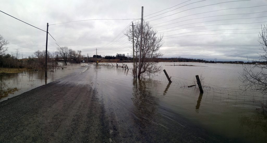 Mohr's Road on Galetta Island was underwater, opposed to what updated flood mapping perdicts, in this April, 2019 photo. Photo by Jake Davies