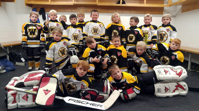 The West Carleton Warriors Initiation Program (IP) team was a special guest of the Ottawa 67's during the junior team's game on Saturday, Nov. 23. The team of four to six-year-olds played a scrimmage in front of roughly 3,000 fans during intermission of the 67's 2-0 win over Mississauga. The team posed for this photo following their scrimmage. Photo by Jake Davies