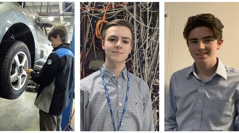 From left, WCSS Grade 12 co-op students Dillan Durant, Sean David and Nick Archambault. Courtesy WCSS