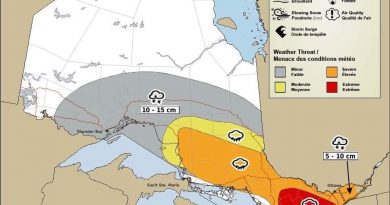 A look at what can be expected where during the coming storm. Courtesy Environment Canada