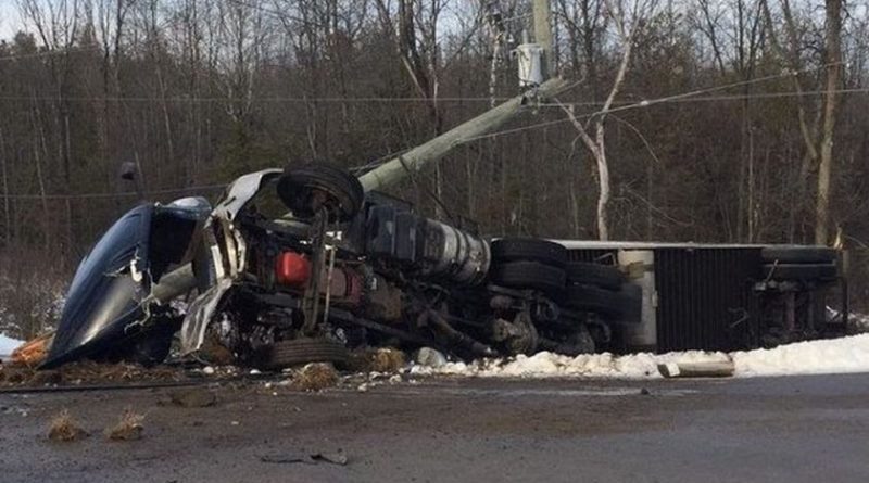 A transport rollover this afternoon on Hwy. 7 has left one dead. Courtesy the OPP