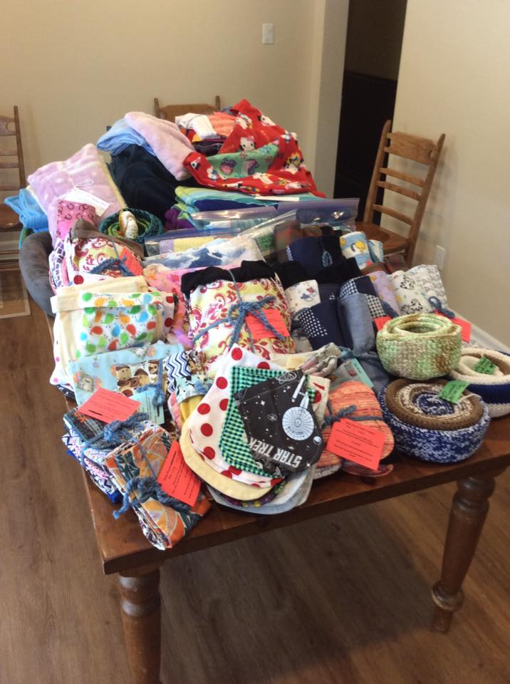 A table-top filled with donated items destined to help beleagured animals in Australia. Courtesy Jennifer Griffin