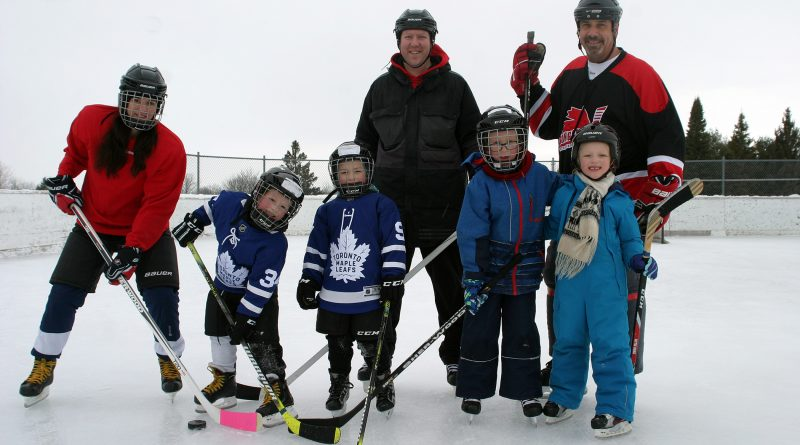 Hockey fans of all types, even Leaf fans, took advantage of the hard work volunteers have put in to the outdoor skating season at Hockey Day in Corkery on Saturday, Jan. 25. Photo by Jake Davies