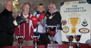 From left, Huntley Curling Club President Blake Sinclair, Carleton Place Director of Bonspiels and Events Jim Broughton, Richmond Curling Club President Nancy Samson-Booth and Almonte Curling Club President Steve Conlon. Photo by Jake Davies