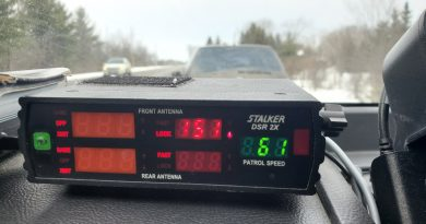 OPS Traffic Enforcement Const. Phil Kane snapped this photo of a stunt driver's speed nabbed on Dunrobin Road yesterday. Courtesy Phil Kane/Twitter