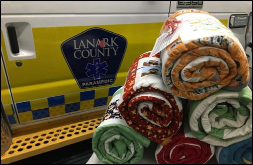 The Almonte Quilters Guild donated 100 hand-made quilts to the Lanark County Paramedic Service. Courtesy the AGH