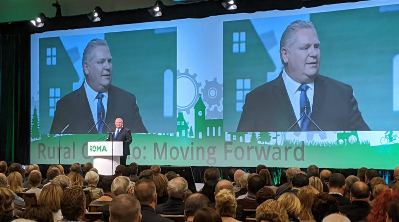 Premier Doug Ford spoke to a packed hall on Jan. 20 at the 2020 ROMA conference. Courtesy George Darouze/Twitter