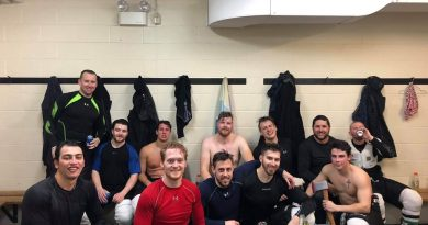 A tired, depleted crew of Rivermen pose for a photo after winning the EOSHL regular season championship last Saturday. Courtesy the Rivermen