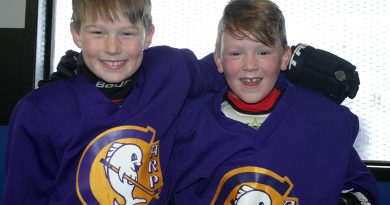 From left, Oden Findlay, 8, and Blaine Sproule, 8, were pumped to start their second year in the WCOHL last Saturday. Photo by Jake Davies