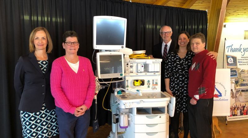 From left, Mary Wilson Trider, Anne Fleming, Lorna Bradley, Dr. Melissa Forbes, and Rob Scott pose with the hospital's new equipment. Courtesy the AGH