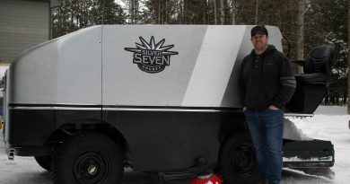 Gibbons' very own ice resurfacer, a treasure he picked up at an auction in Cornwall, has increased his options for outdoor skating. Photo by Jake Davies