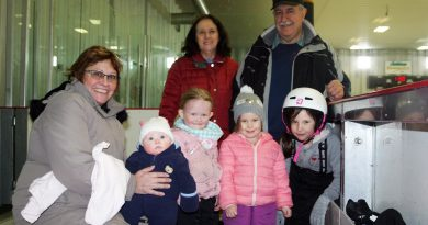 Coun. Eli El-Chantiry and his wife Maha, in back, hosted his annual Free Family Day Skate last Monday. In front, from left, Valerie Buchanan, Camryn Bangma, 4 mos, Tenley Bangma, 3, Everly Wells, 3, and Haiden Wells, 7, were some of the many to come out and enjoy the ice. Photo by Jake Davies