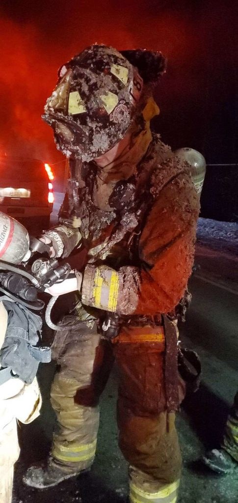 Fifefighters worked in cold conditions early this morning battling a blaze just outside of Galetta. Courtesy Bill Bell