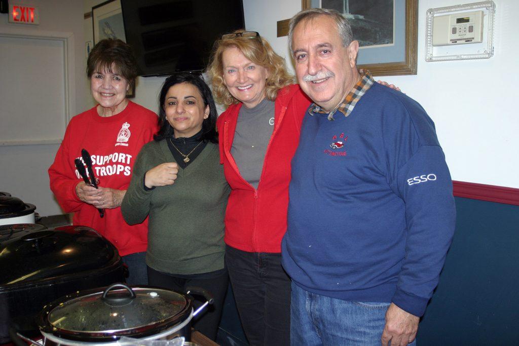 From left, the Legion's Arlene Morrow, Constance Bay Pharmacy's Tamara Awada, MP Karen McCrimmon and Coun. Eli El-Chantiry helped serve breakfast. Photo by Jake Davies