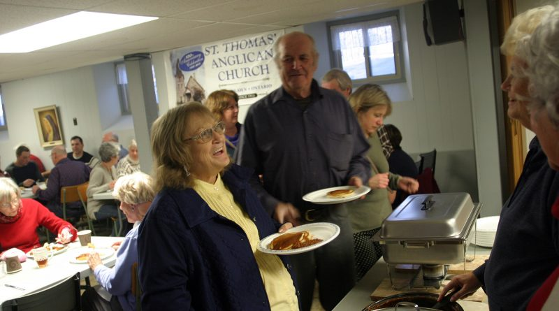 The lines were long but the pancakes were hot as witnessed here in Woodlawn at the St. Thomas' Anglican Church Pancake Supper last Tuesday night. Photo by Jake Davies