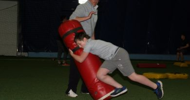 Arnprior's Alex Geddes, 12, shows off his tackling skills at the first Skills and Drills