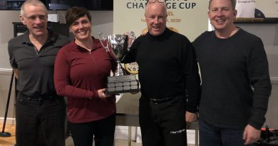 Huntley Curling Club team captain Jim Collings, alternate captain Ruth Dagenais, President Blake Sinclair and alternate captain Shawn Lynch pose with the President's Challenge Cup. Courtesy the HCC