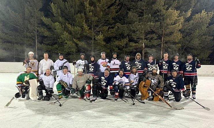The City vs. The Country shinny game was a friendly competition until the 'last goal wins' call. Courtesy Adam Brown