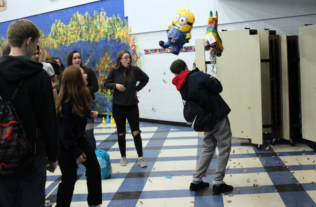 It'a pinata time at the WCSS Grade 9 birthday party. Photo by Michelle Russett
