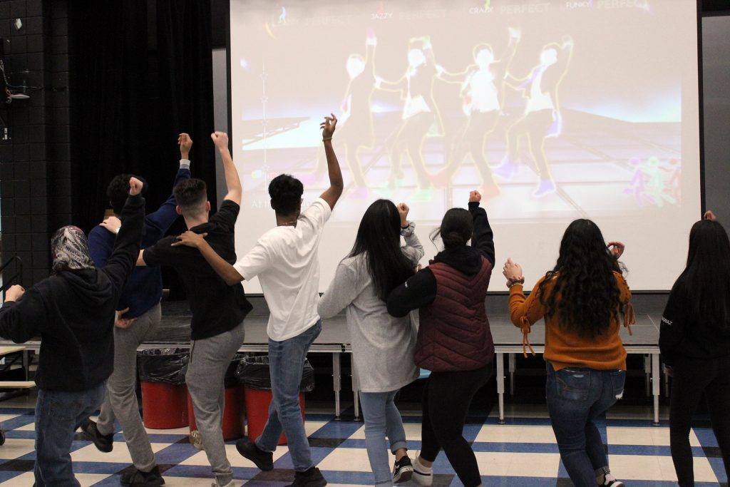 Grade 9s partake in a bit of dancing at a birthday party hosted by the WCSS Link Crew. Photo by Michelle Russett
