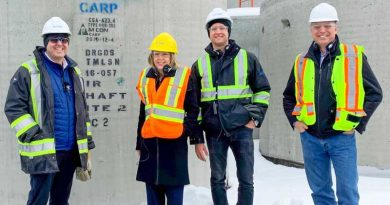 From left, M CON's Tim Underhill, MPP Dr. Merrilee Fullerton, M CON's Marco Mion and CCPPA Jude Tremblay tour the Carp M CON facility. Courtesy M CON