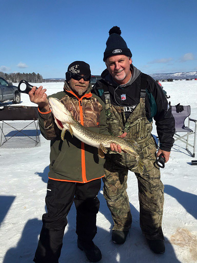 Mike Johnson, left, poses with his winning fish with Mike Fines. Courtesy Mike Fines