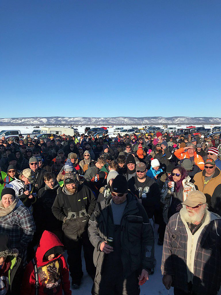 A huge crowd gathers for the wrap-up to Mike and Peter's 13th Annual Ice Fishing Tournament. Courtesy Mike Fines