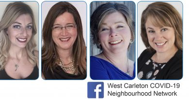 Four West Carleton women, from left, Amanda Dubé, Monique Strathern, Shannon Spallin and Tanya Laughlin, launched a West Carleton business networking page that has grown to more than 400 members in five days.