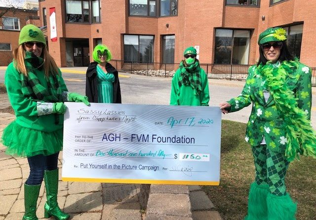 Pictured is Annie Craig holding the cheque with Joanne Buch, and keeping their distance Stephanie Lajeunesse with AGHF fundraising chair for Almonte General Hospital Fairview Manor Foundation, Julie Munro, all wearing their green. Courtesy AGHF