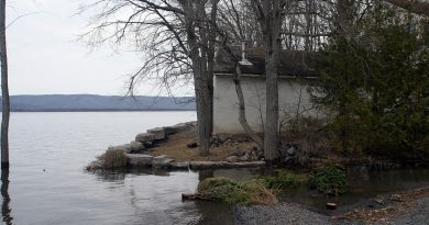 The MVCA ended its flood watch for the lower Ottawa River today. The river rose in Constance Bay but homes were spared as this photo taken last Easter Sunday shows, Photo by Jake Davies