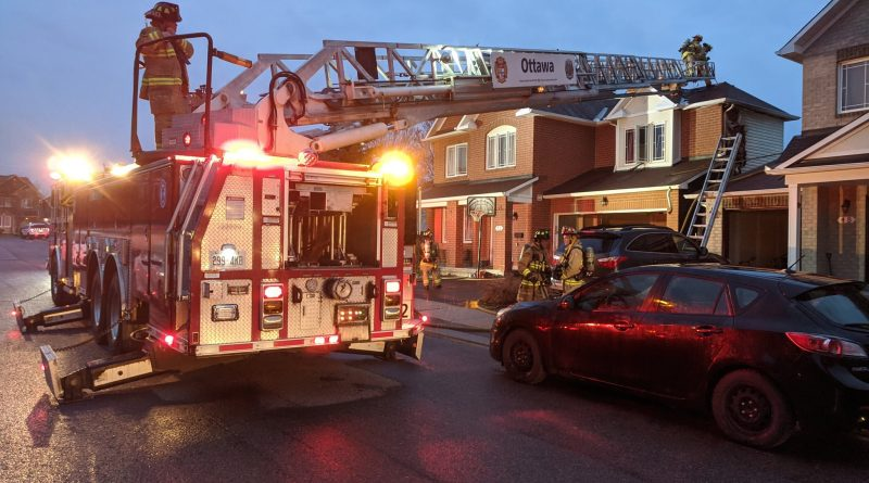 Firefighters extinguished a blaze early this morning in Kanata North near Old Second Line. Photo by Scott Stilborn