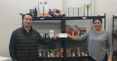 West Carleton P38 Energy branch manager Jeff Girard makes a donation to the Lanark County Food Bank. Courtesy P38 Energy