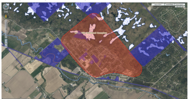 The two-year UPTick project study area in Carp is in the red section and includes land usage donated by Ducks Unlimited Canada. Courtesy FCH