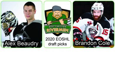 West Carleton Rivermen general manager Mike Byrne went from zero picks to two picks in the EOSHL draft held last week after a couple of trades in the days before. Player photos courtesy the Rivermen