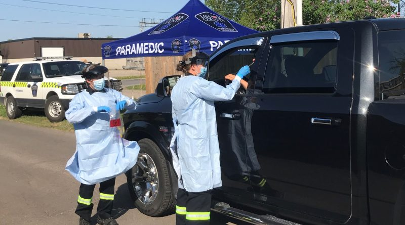 Lanark County paramedics offer drive-thru testing at the COVID-19 Assessment Centre in Almonte. Courtesy the AGH