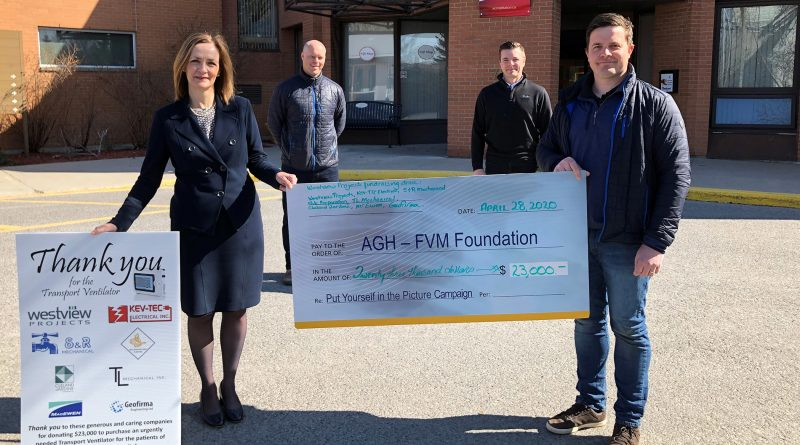 From left are Mary Wilson Trider, President/CEO of Almonte General Hospital Fairview Manor, Brad Doran-Veevers, Cedar Nesbit and Seth Richards of Westview Projects. Courtey AGH