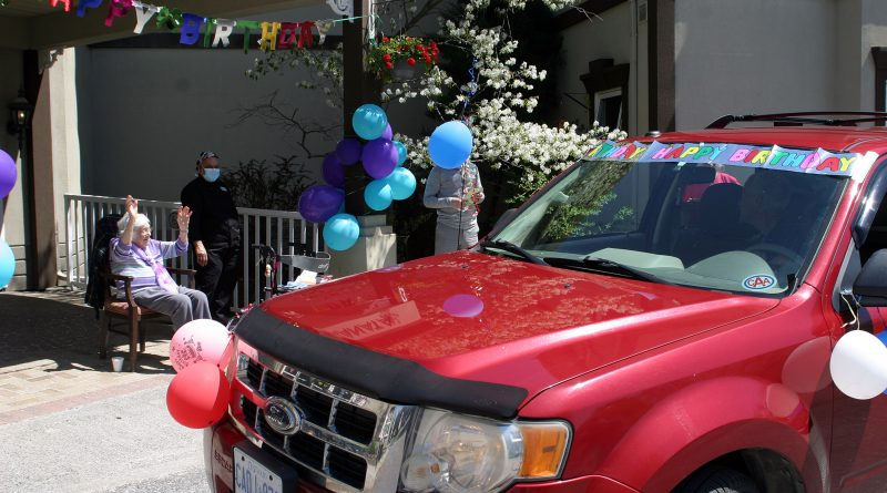 Juanita Snelgrove was honoured with a parade to celebrate her 104th birthday. Photo by Jake Davies