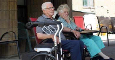 Mervyn and Emily Tripp enjoy their 73 wedding anniversary parade held at Almonte's Country Haven yesterday. Photo by Jake Davies