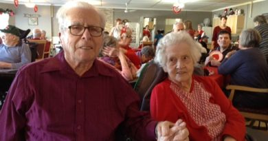 Mervyn and Emily Tripp will be celebrating 73 years of marriage this Sunday. This photo was of the happy couple on Valentine's Day, 2019 at Country Haven. Courtesy Janice Tripp