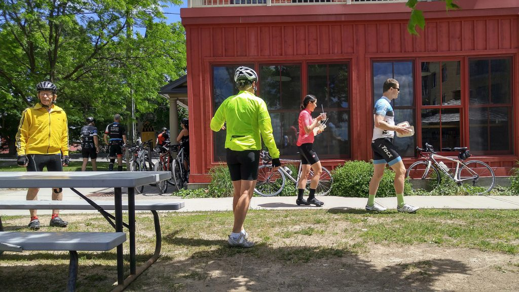 Dress code was cyclist casual at Alice's Sunday afternoon. Photo by Jake Davies