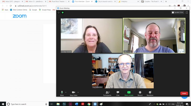 The Rural Root Theatre Company's production of Couples, will debut live on Zoom June 9. In the screengrab producer Carolyn Walsh, top left, and director Roy Ballantine, bottom centre, sit down to talk with West Carleton Online's Jake Daviess in a Zoom conference call. Screengrab by Jake Davies