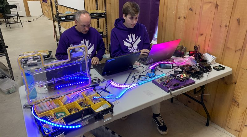 The Merge Robotics team may not have been able to compete with their robot, but they still put in the time to build it. This Saturday the team will hand out the awards for their efforts. Courtesy Merge Robotics