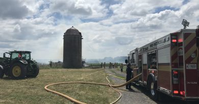 Rural firefighters doused a fire in the Goulbourn area that was immediately adjacent to a silo today. Courtesy the OFS
