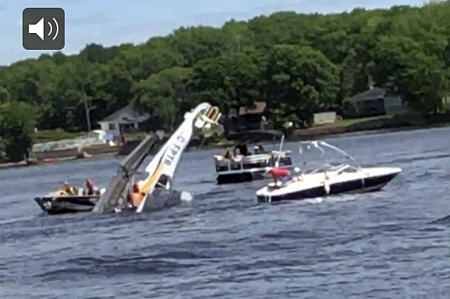 A mid-air collision between two planes sent a float plane spiralling in to the Ottawa River Sunday evening. Amazingly both pilots survived the incident. Photo by Cameron Tilley