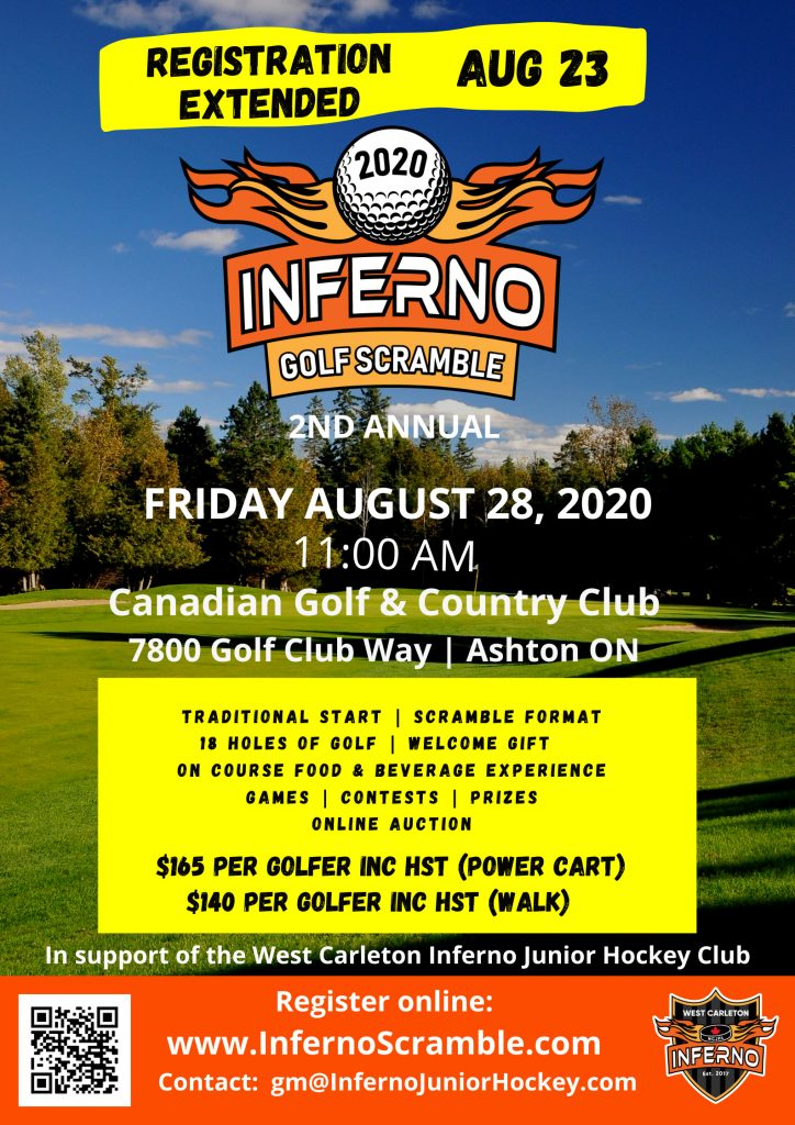Second annual Inferno Scramble poster. Friday, Aug. 28.