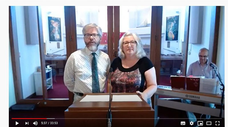 Husband and wife reverends, James Murray and Dr. Christine Johnson, have worked together to provide live online services for their respective churches. Screengrab